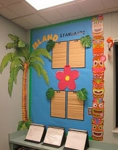 Show off students work, palm tree and bamboo paper placers