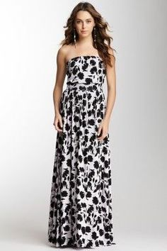 Black and white flower maxi dress