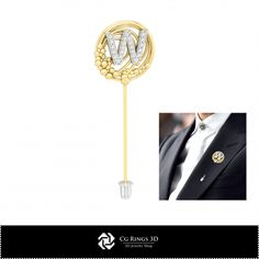 3D CAD Brooch With Letter W
