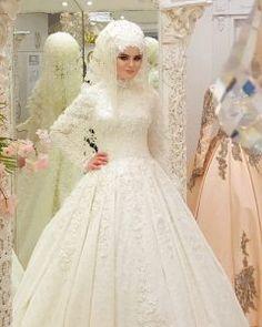 2018 Hijab Taffeta and Satin Bridesmaid Dresses Muslim Wedding Gown, Muslim Wedding Dresses, Muslim Brides, Wedding Hijab, Wedding Attire, Wedding Gowns, Bridesmaid Dresses, Bridal Hijab, Bridal Gowns