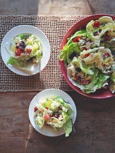Lemony buttermilk deconstructed wedge salad at feedmedearly.com | Iceberg lettuce, cherry tomatoes, blue cheese, bacon, buttermilk, Greek yogurt, lemon juice, olive oil, green onion | CSA, recipe