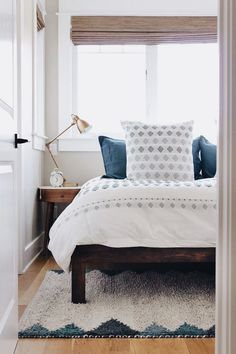 white + indigo bedroom