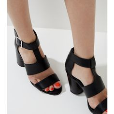 New Look Black Multi Strap Heeled Sandals (£22) ❤ liked on Polyvore featuring shoes, sandals, black, ankle strap heel sandals, ankle strap sandals, black block heel sandals, ankle wrap sandals and black high heel shoes