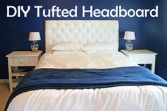 """diy headboards for queen beds   Where I left off, I had a pegboard with 3"""" foam sitting on top of it ..."""