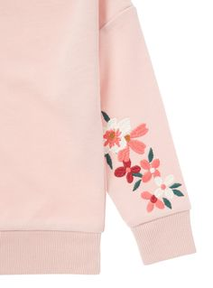 Wrap up them up in this adorable pink sweat. Designed with a crew neckline, this piece features a cute and understated floral embroidery along with a ribbed neckline cuff and hem finish. Perfect for those colder days, layer over outfits. Pink floral embroidered sweat Long sleeve Crew neckline Floral embroidery Ribbed neckline, cuff and hem Keep away from fire
