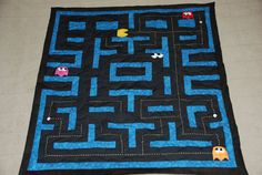 Pacman arcade video game quilt by kellyjaworski on Etsy, $299.00 man i used to have pacman sheets..wish i still had those!