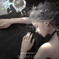 Anime Art Fantasy, Fantasy Art Women, Beautiful Fantasy Art, Dark Fantasy Art, Fantasy Girl, Fantasy Artwork, Dark Anime Girl, Cool Anime Girl, Anime Art Girl