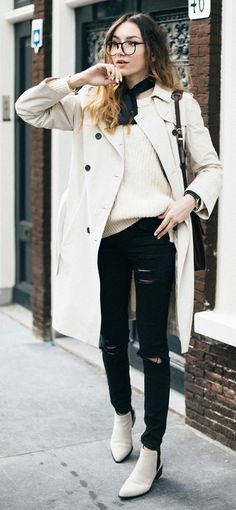 Beatrice Gutu + completely sophisticated + monochrome style + ripped black jeans + gorgeous white Chelsea boots + beautiful trench from Sarar + Trench coats + ultimate way to add elegance to any look!  Trench: Sarar, Knit: Closed, Jeans: Asos, Boots: Selected Femme.