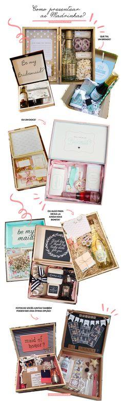 Blog OMG I'm Engaged - Idéias de presentes para madrinhas de casamento. Bridesmaid gift box.