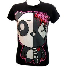 Killer Panda KP Dead T-Shirt | Gothic Clothing | Emo clothing |... ❤ liked on Polyvore