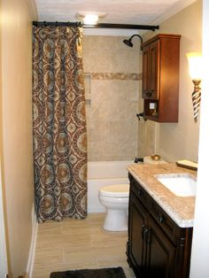 Attirant #windowtreatments A Ring Curtain As A Decorative Shower Treatment.  Www.LadyDiannes.com