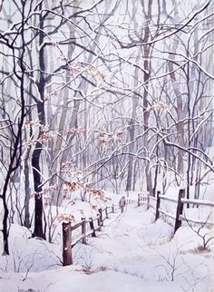 Winter Snow Trail original watercolor signed and by baylesdesign