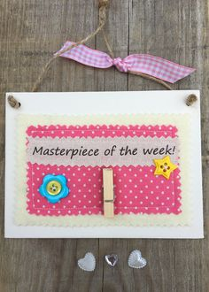 £7.00 ~ masterpiece of the week ~ display your childs work ~ memories ~ wooden plaque ~ hanging plaque. visit us on facebook and etsy