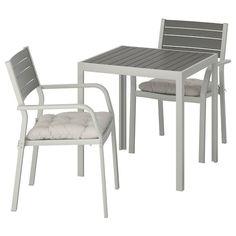 SJÄLLAND Table et 2 chaises accoudoirs, ext - gris foncé, Kuddarna bleu bleu clair - IKEA Outdoor Table Tops, Ikea Outdoor, Outdoor Tables And Chairs, Outdoor Dining Set, Outdoor Rooms, Dining Sets, Outdoor Cushion Covers, Outdoor Cushions, Chair Cushions