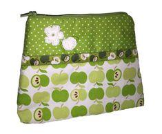 Kosmetik-Tasche Stoff grün - Apfel