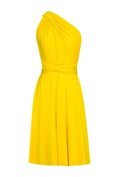 9550a5d705 EK - Convertible bridesmaids dress infinity yellow knee length dress Plus  size prom evening formal dress