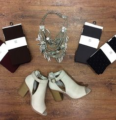 You have the perfect dress, now it's time to find the perfect accessories!😍 #xoxoAL4You #tights #peeptoe #chunkynecklace #aotd #apricotlane #shoplocal Tights- Burgundy, Chocolate, Charcoal,