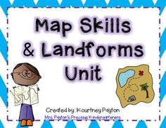 Teaching Map Skills and Landforms? This unit has several printables, games and worksheets to teach your students all about them! Perfect for K-1