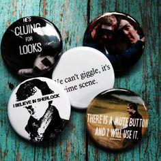BBC Sherlock Holmes and John Watson 5 Pinback Button Set with Free Bonus Mystery Pin Benedict Cumberbatch Martin Freeman