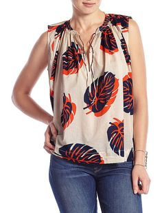 Lucky Brand Tossed Leaf Tank Womens - Natural Multi (M)