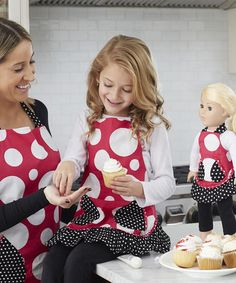 Another great find on #zulily! Fuchsia & Black Dot Apron & Doll Outfit Set #zulilyfinds