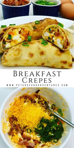Breakfast Crepes with Bacon and Egg - Peter's Food Adventures Breakfast Crepes, Breakfast Time, Dinner Crepes, Beef Recipes, Cooking Recipes, Healthy Recipes, Easy Cooking, Easy Recipes, Recipes