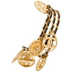 Chanel Leather and Charm Gold Bracelet