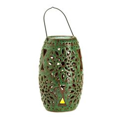 This green lantern really adds something special to any room or garden. No flame required to light up this gorgeous ceramic lantern! The intricate design of this green-glazed lantern comes to life with the flip of a switch thanks to the interior LED light bulb that flickers and glows like a real candle. Hang it from the metal handle or set it on its base to enjoy it indoors or outside.