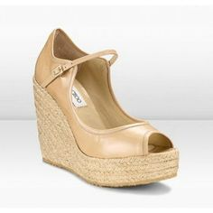 Jimmy Choo Pandita 120mm Nude Patent Mary Jane Espadrille Wedges Shoes