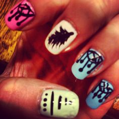 Hipster themed nails, loved the freehand art