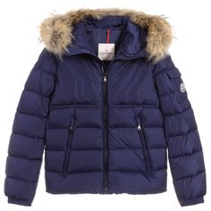 Boys navy blue, down filled puffer jacket by Moncler Enfant. It has a detachable fur trim on the hood, zip fastening, which allows for two different looks. Moncler, Puffer Jackets, Winter Jackets, Down Puffer Coat, Kids Online, Fur Trim, Canada Goose Jackets, Navy Blue, Teen