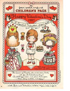 If you are still looking for something for your little girl for Valentines, I found these cute printable paper dolls by Joan Walsh Anglun. My Funny Valentine, Valentine Theme, Valentine Special, Vintage Valentines, Valentine Crafts, Happy Valentines Day, Papercraft Anime, Paper Art, Paper Crafts