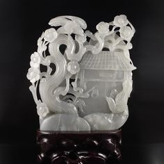 Hand Carved Chinese Natural Hetian Jade Statue - Magpie,Plum Flower & House