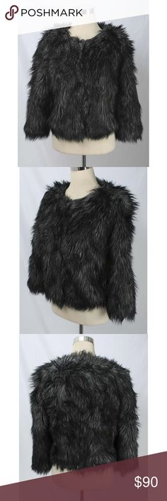 "MICHAEL Michael Kors Gray & Black Faux Fur Jacket MICHAEL Michael Kors Size XL Gray & Black Faux Fur Hook Closure Jacket 465 ST21E  Fully lined. EUC.  Size: XL  Measurements Laying Flat  Underarm to Underarm: 22"" Shoulder to Hem Line: 20 1/2"" Shoulder Seam to Cuff: 18"" Shoulder Seam to Seam: 18""  Fabric Content  Shell: Faux Coyote Fur 46% Modacrylic, 42% Acrylic and 12% Polyester  Lining: 100% Acetate MICHAEL Michael Kors Jackets & Coats"