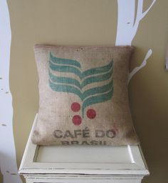 Ideas for the 10 burlap bags I bought on craigs list... reclaimed burlap coffee bag pillows.
