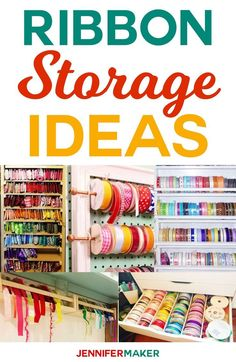 DIY Ribbon Storage Ideas to keep your craft ribbon spools organized and accessib. Ribbon Organization, Craft Organization, Scrapbook Organization, Organizing Tips, Organising, Storage Hacks, Storage Ideas, Storage Organizers, Diy Rack
