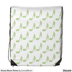 Green Music Notes Backpacks