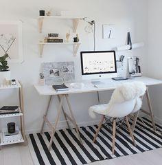 Home Decoration Ideas: Minimal Monochrome Black & White Office Space Inspiration - Simple Workspace Styling (The Design Chaser) Workspace Design, Home Office Design, Home Office Decor, House Design, Home Decor, Office Ideas, Office Setup, Small Workspace, Bureau Design