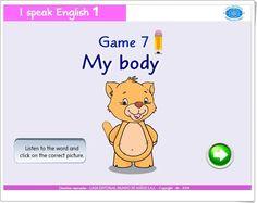 """""""My body"""" es un juego de """"I speak English 1"""", de Casa Editorial Mundo de Niños S.A.S., orientado al desarrollo del vocabulario oral y escrito en inglés relacionado con las partes del cuerpo humano."""