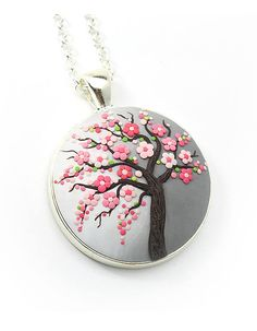 Cherry-blossom necklace Sakura-necklace Tree-Of-Life necklace