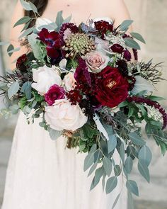 This season we're obsessed with berry tones and large pretty blooms! This bridal bouquet is what dre This season we're obsessed with berry tones and large pretty blooms! This bridal bouquet is what dreams are madeof! Cascading Wedding Bouquets, Silk Bridal Bouquet, Cascade Bouquet, Fall Bouquets, Fall Wedding Flowers, Wedding Flower Arrangements, Bride Bouquets, Floral Wedding, November Wedding Flowers