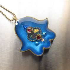 Royal blue hamsa amulet Israel jewelry by sassonorly on Etsy, $90.00