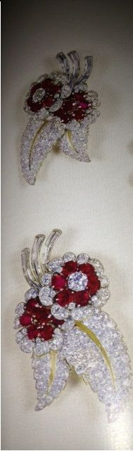 The two Greville diamond and ruby brooches. The Queen Mother inherited them from Mrs Greville.
