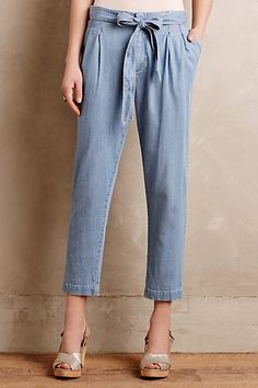 Anthropologie EU Chambray Paperbag Trousers