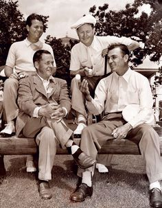 Ben Hogan sits with Bobby Jones and (back) Jimmy Demaret and Byron Nelson after the first round of the 1946 Masters. Hogan, who shot a first-round 74, finished one shot behind winner Herman Keiser.