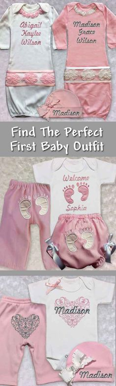 Find the perfect baby girl first outfit featuring personalized and unique newborn girl clothes made special for her!