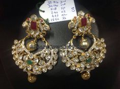22 carat gold pachi work chandbalis weight is 39 grams. Peacocks top part decorated with square shaped big ruby. South Indian Jewellery, Indian Jewellery Design, Indian Jewelry, Jewelry Design, Diamond Jhumkas, Diamond Brooch, Art Deco Diamond, Ear Jewelry, Wedding Jewelry