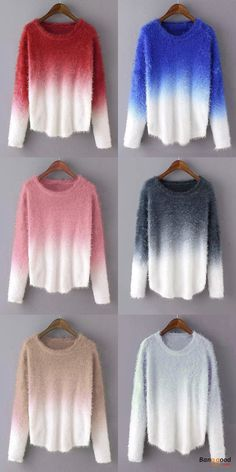 US$26.99 + Free shipping. Size: S~XL. Fall in love with elegant and casual style! Casaul Women Gradient O-Neck Long Sleeve Sweaters.