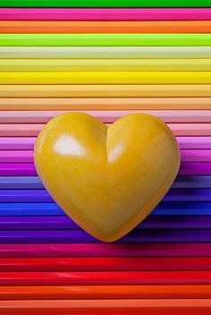 yellow heart rainbow stripes
