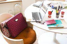 Writer and fashionta Stephanie LaCava's work space. ROUND desk? #deskpiration